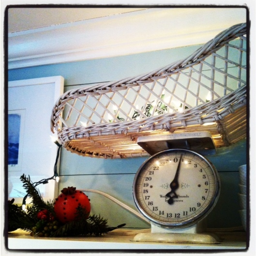 "Last year, I filled my antique baby scale with lights... simple and easy. Let the antique do most of the ""talking""!"