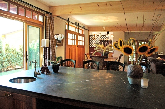 The kitchen island to the dining room.