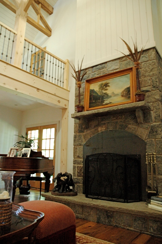 This fireplace was built by master stone layers. It took a long time to build, but it sure does make a fire roar!