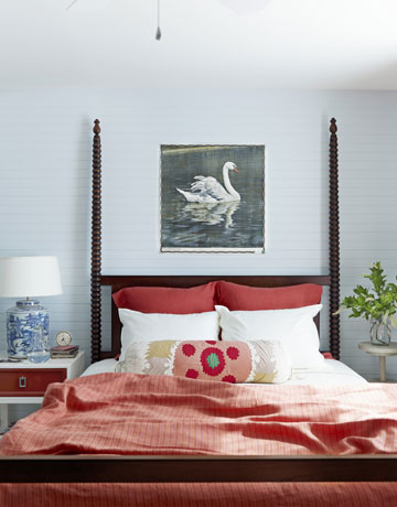 Master bedroom with my favorite: wood paneled walls.