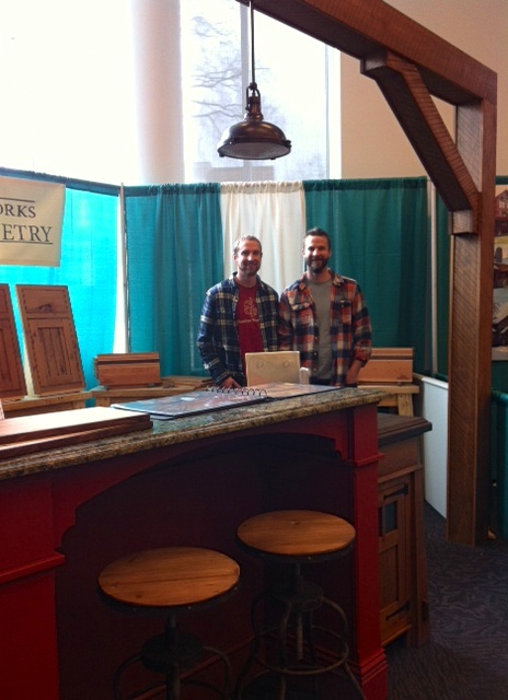 At Steinberger Woodworks, brothers Jesse and Justin not only make stunning cabinetry, they also have a philanthropic heart- they are selling cutting boards made with their wood scraps and donating 100% of proceeds to the Ugandan Water Project. (They also built this island with some of the reclaimed wood from Storiedboards!)