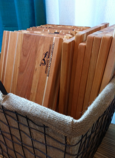 The cutting boards are $30 (a great price point for the quality and wood!) and they are made from walnut, maple, and cherry.