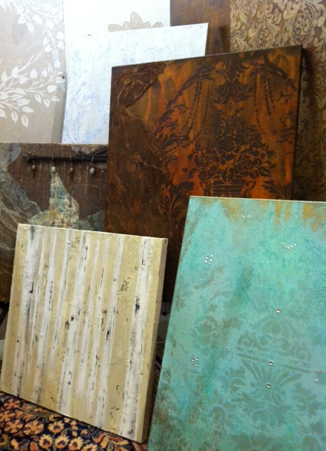 "Donna at Classic Wall Finishes does beautiful decorative finishes, wall murals, and decorative canvases. These pretty canvases run from $150- 300! A great option for a piece of handmade ""art"" at a reasonable price point."