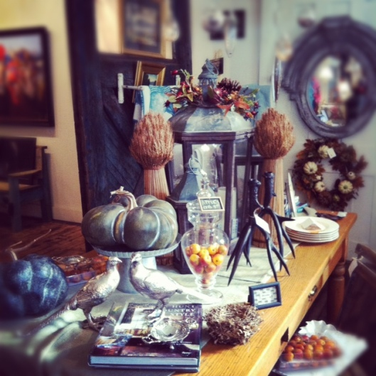 I'd love to stage my own table, but I'm a bit short on time these days... however, I DID stage a few table at the shop, which sort of counts! They aren't so much perfect table settings as inspiration and parts to help inspire YOU and your own holiday table...
