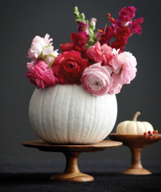 Again, pumpkins are perfect nature- made vessels for flowers, ice, or food! (Great for dips, soups, or deserts... and since they come in all sizes, so their are so many options!)