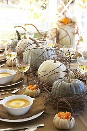 I mean, what's not to love about this? Willow with the green and white pumpkins... also, keep in mind that the best centerpieces are low ones, no matter how fun a tall dramatic bouquet can be. With low profile ones, you can see everyone at the table and pass food easily.