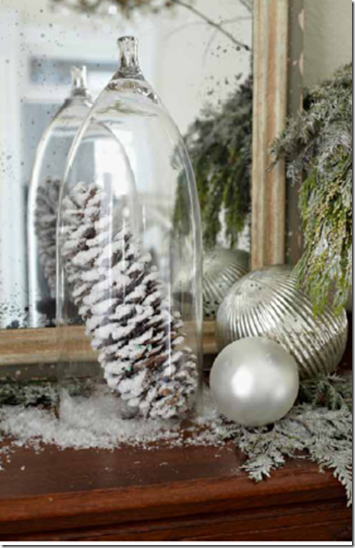I also love using real pinecones in my winter decor. This idea is cute, enclosing it under a cloche. (I also love using fake snow, like they've done here.  It's also budget- friendly, big impact for the price, and just pretty. You can have a white Christmas anywhere!)