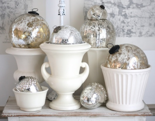 A little mercury glass is always a stunning way to add some festive shine. (Psst! We sell similar ornaments at Silverwood, if you want to replicate the look!)