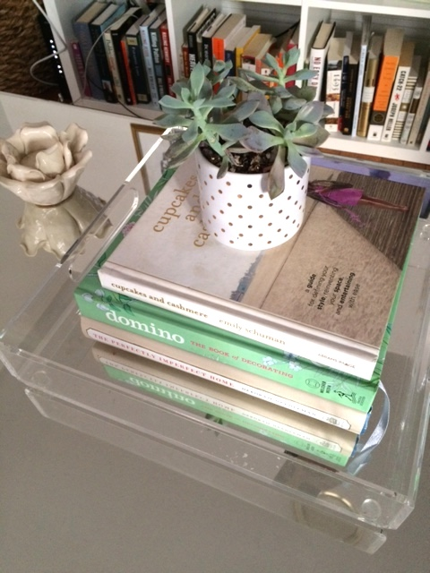 The lucite tray, mirrored coffee table, potted succulent, and stack favorite design books? On point all the way.