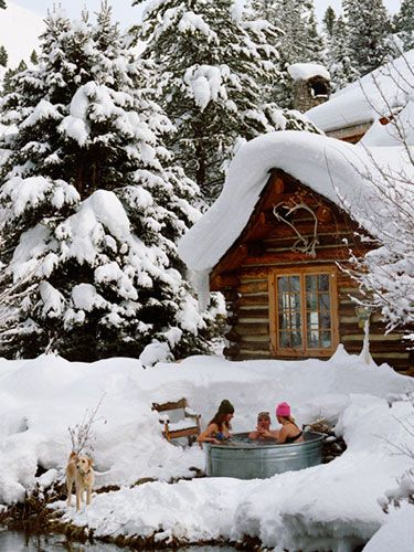 I've seen a couple versions of this image, so I'm not even sure it's real, but it should be. Almost NOTHING is better than a soak after skiing.