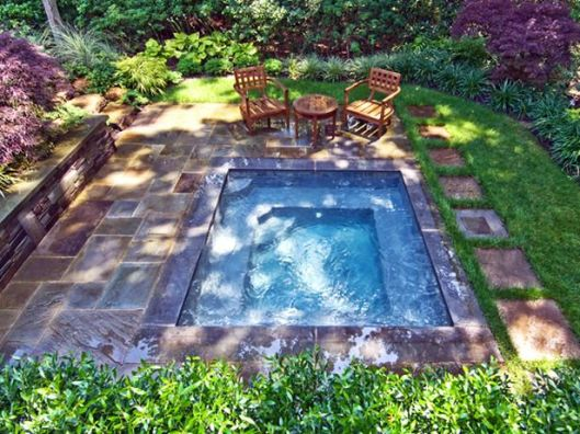 This one is less fantasy, more realistic for a Saratoga backyard. Also, love that this could sort of stand-in for a small pool in the warmer months.