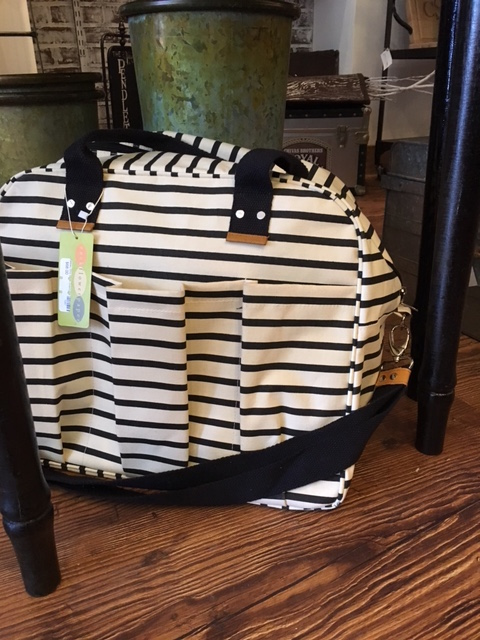 Great new canvas bags in several styles and patterns. The new black and white stripe weekender ($65) is adorbs!